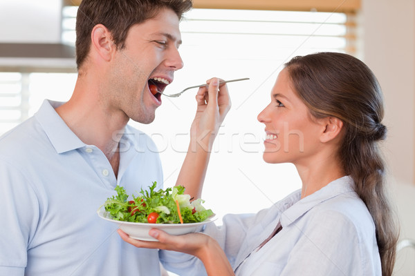 Coppia degustazione insalata cucina felice salute Foto d'archivio © wavebreak_media