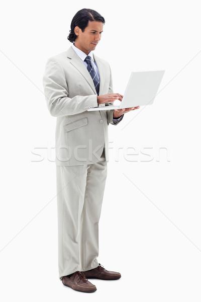 портрет бизнесмен ноутбук белый бизнеса лице Сток-фото © wavebreak_media