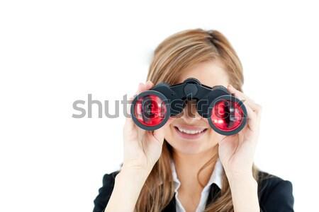 Bank employee using spy glasses against a white background Stock photo © wavebreak_media