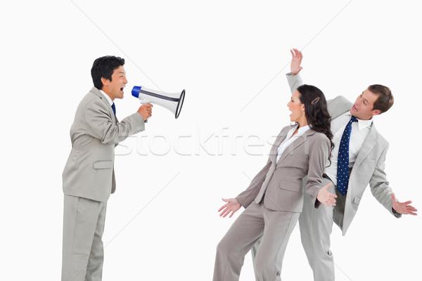 Satıcı megafon arkadaşları beyaz adam Stok fotoğraf © wavebreak_media