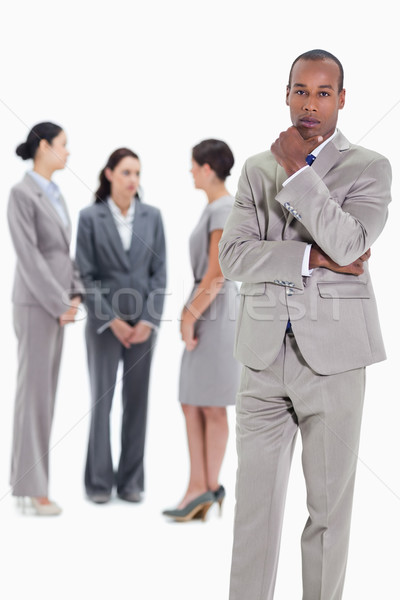 Stock fotó: Komoly · üzletember · kéz · áll · három · női