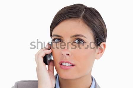 Weiblichen Unternehmer sprechen Mobiltelefon weiß Stock foto © wavebreak_media