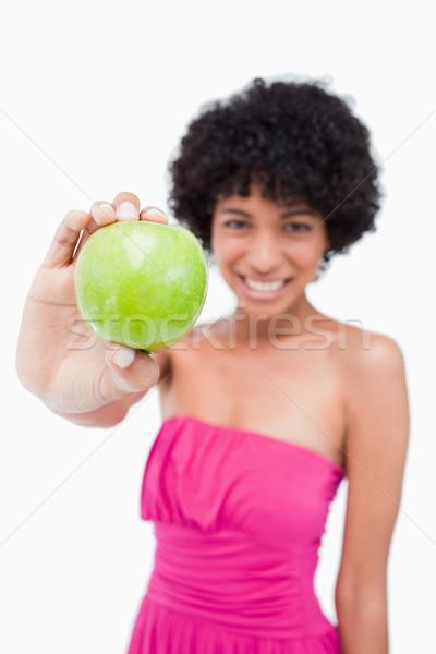 Stok fotoğraf: Güzel · yeşil · elma · genç · kadın · beyaz · eller