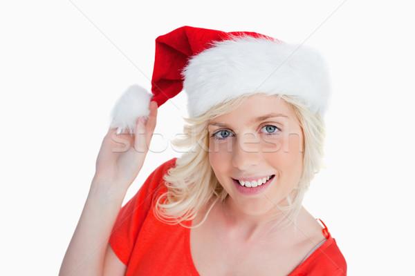 Jeune femme Noël chapeau blanche sourire Photo stock © wavebreak_media