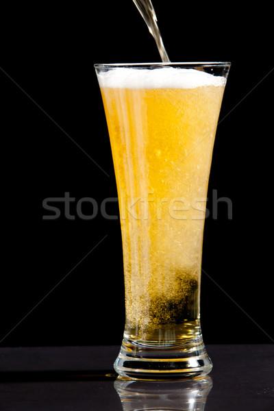 Vidro cerveja preto fundo beber Foto stock © wavebreak_media