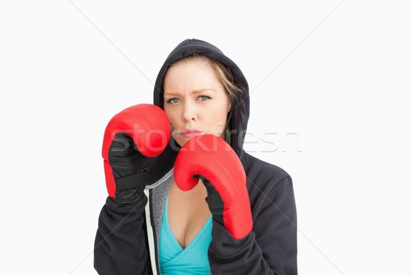 Poważny kobieta boks biały sportu zdrowia Zdjęcia stock © wavebreak_media