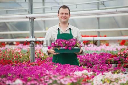 Sonriendo empleado teléfono invernadero jardín centro Foto stock © wavebreak_media