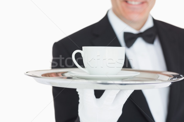 официант кофе серебро лоток службе Сток-фото © wavebreak_media