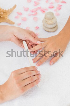 French manicured fingers and nail paint bottles Stock photo © wavebreak_media