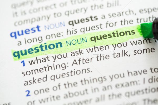 Questione definizione verde informazioni lettere studiare Foto d'archivio © wavebreak_media