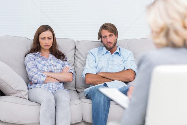 Chateado casal sentar-se sofá triste Foto stock © wavebreak_media