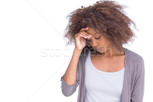 Triste femme front main blanche Photo stock © wavebreak_media