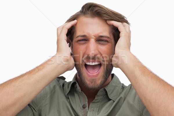 Mérges férfi kiált fehér férfi stílus Stock fotó © wavebreak_media