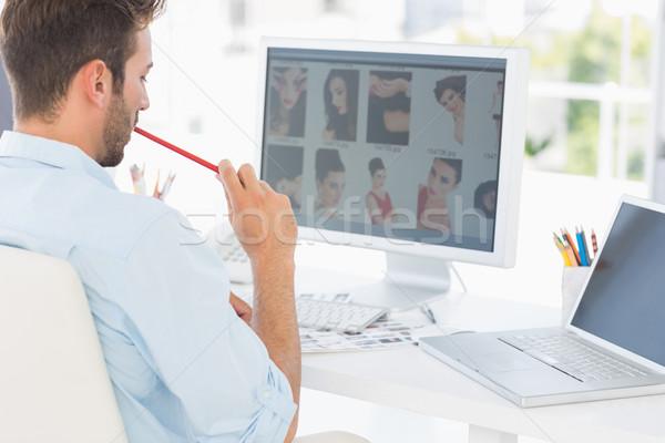 Foto stock: Masculino · foto · editor · trabalhando · computador · escritório