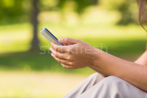 Mid section of woman text messaging in park Stock photo © wavebreak_media