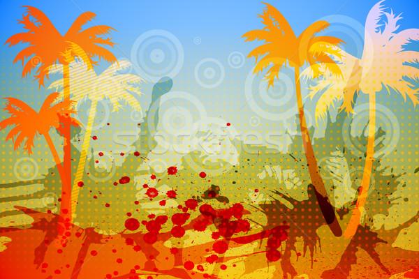 Cyfrowo wygenerowany palma pomarańczowy niebieski Zdjęcia stock © wavebreak_media