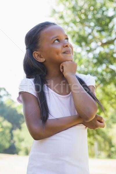 Kislány gondolkodik keresztbe tett kar park napos idő tavasz Stock fotó © wavebreak_media