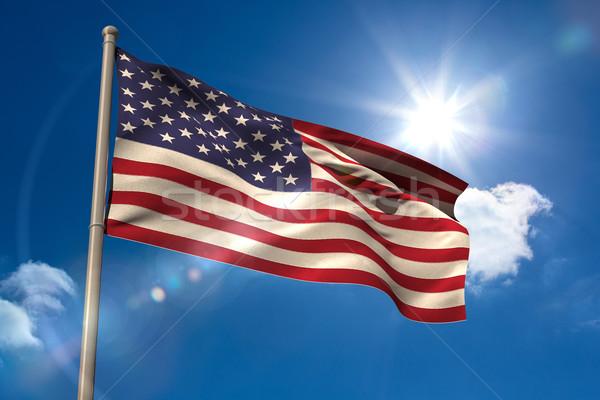 Соединенные Штаты Америки флаг флагшток Blue Sky солнце Сток-фото © wavebreak_media