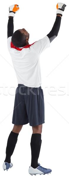 Opgewonden doelverdediger witte juichen voetbal versnelling Stockfoto © wavebreak_media