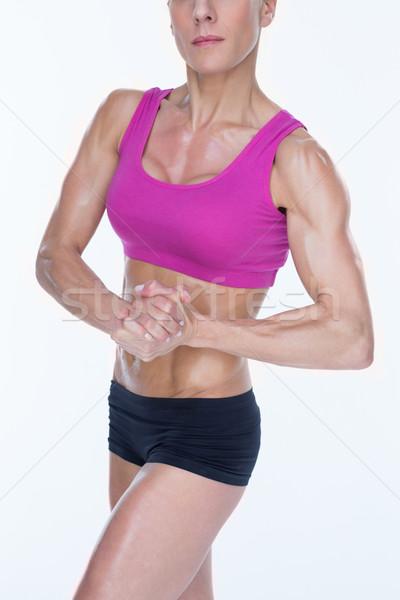 Női testépítő sportok melltartó rövidnadrág fehér Stock fotó © wavebreak_media