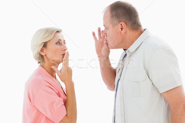 Idősebb pár kéz a kézben száj csend fehér Stock fotó © wavebreak_media