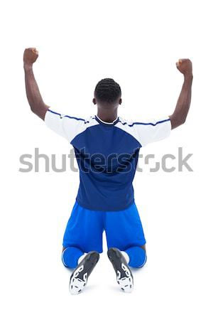 Futbolista azul ganadores taza blanco Foto stock © wavebreak_media
