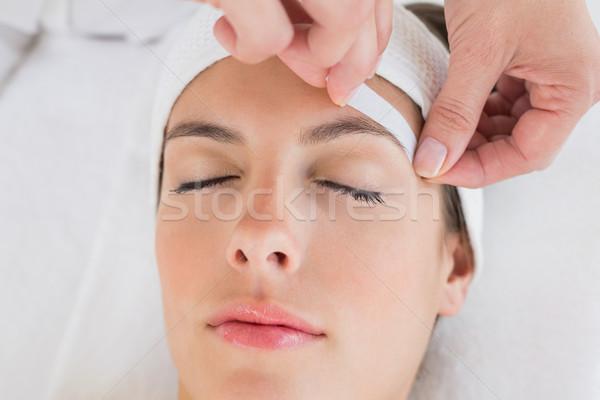 Strony woskowanie piękna brew kobieta Zdjęcia stock © wavebreak_media