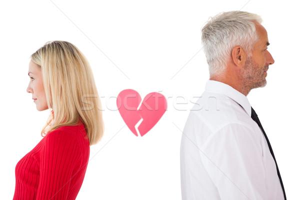 Couple not talking with broken heart between them Stock photo © wavebreak_media