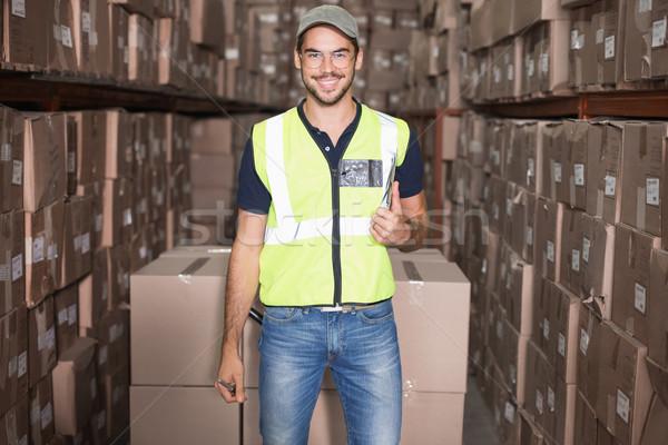 Halle Arbeitnehmer lächelnd Kamera groß Business Stock foto © wavebreak_media