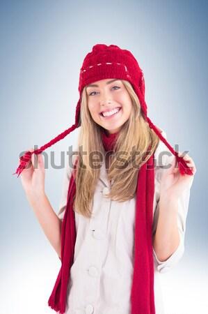 Piękna brunetka rękawice bokserskie torbę na zakupy biały portret Zdjęcia stock © wavebreak_media