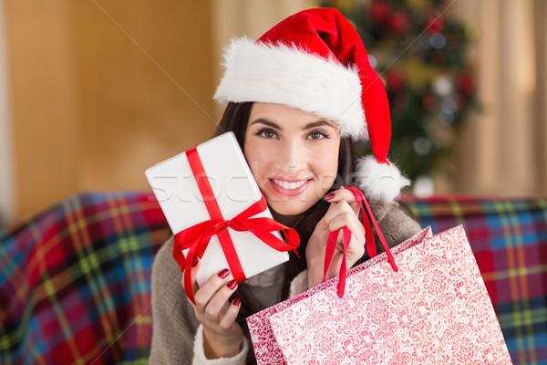 笑みを浮かべて ブルネット ギフト ショッピングバッグ クリスマス ストックフォト © wavebreak_media