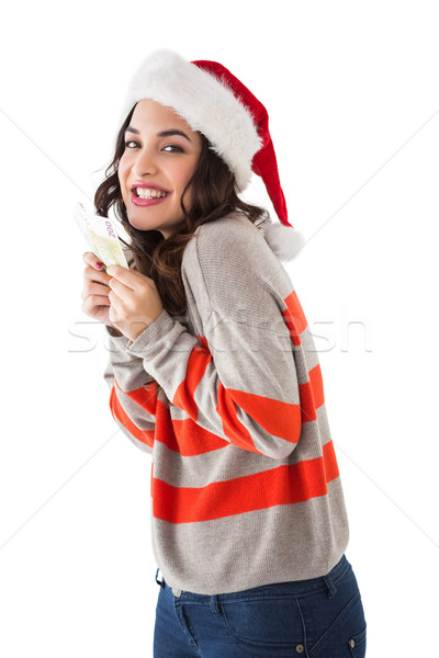 Stock photo: Happy brunette holding her cash