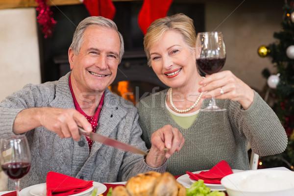 Człowiek kurczaka żona pitnej wino czerwone domu Zdjęcia stock © wavebreak_media