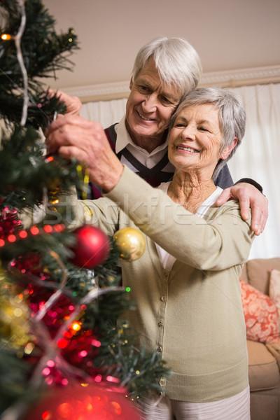 Idős pár karácsonyfa otthon nappali nő ház Stock fotó © wavebreak_media