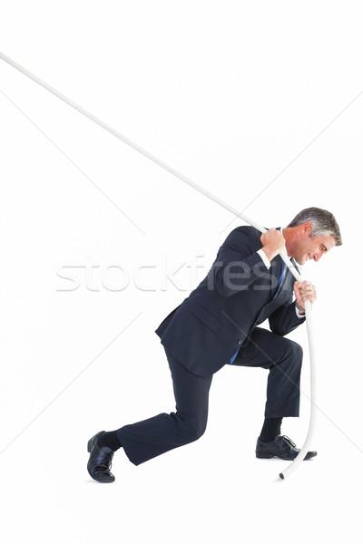 Stílusos üzletember húz kötél fehér üzlet Stock fotó © wavebreak_media