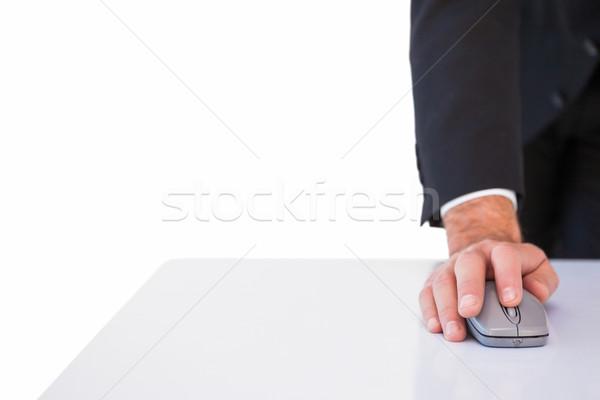 üzletember öltöny egeret használ fehér kéz Stock fotó © wavebreak_media