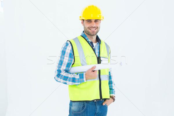 Stockfoto: Portret · glimlachend · architect · blauwdruk · witte