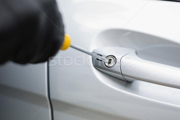 Hırsız araba tornavida kapı erkek sigorta Stok fotoğraf © wavebreak_media