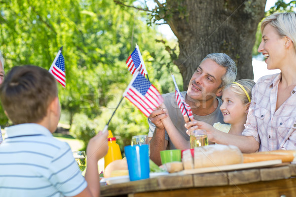 Famille heureuse pique-nique drapeau américain femme Photo stock © wavebreak_media