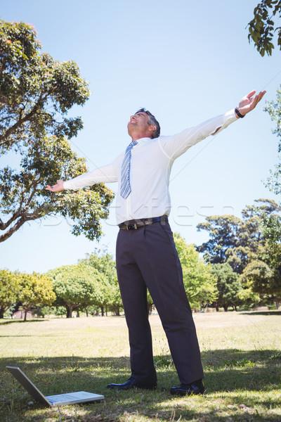 Empresário sentimento livre parque homem Foto stock © wavebreak_media