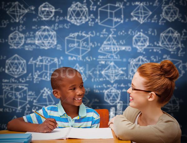 összetett kép boldog tanár kék tábla Stock fotó © wavebreak_media