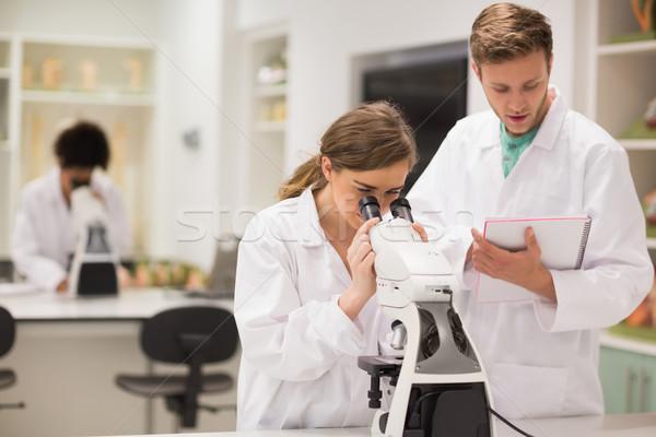 счастливым медицинской студентов рабочих микроскоп университета Сток-фото © wavebreak_media