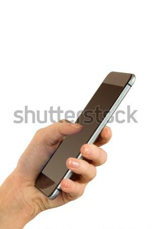 Nő küldés szöveges üzenet szöveg fehér kéz Stock fotó © wavebreak_media
