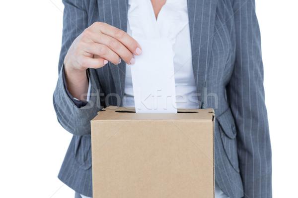 Photo stock: Affaires · scrutin · vote · boîte · blanche · femme