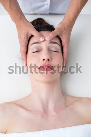Stock fotó: Vonzó · nő · fej · masszázs · fürdő · központ · magasról · fotózva