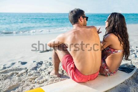 вид сзади пару сидят пляж Сток-фото © wavebreak_media