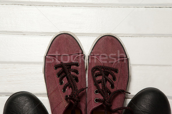 Overhead view of loafers and shoes on floor Stock photo © wavebreak_media