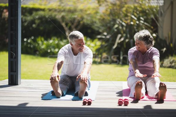 Idős pár testmozgás együtt veranda néz egyéb Stock fotó © wavebreak_media