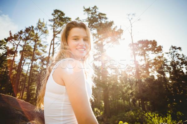 молодые счастливым бегун трусцой глядя камеры природы Сток-фото © wavebreak_media