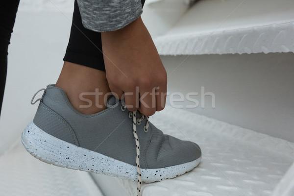 Vrouwelijke atleet trap laag baby Stockfoto © wavebreak_media